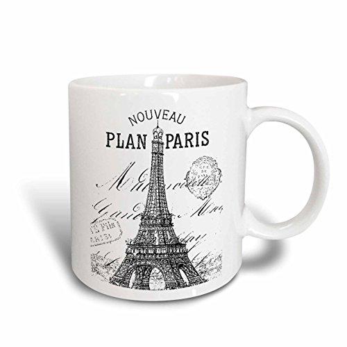 3dRose 110389_5 Nouveau Paris vintage Eiffel tower Two...
