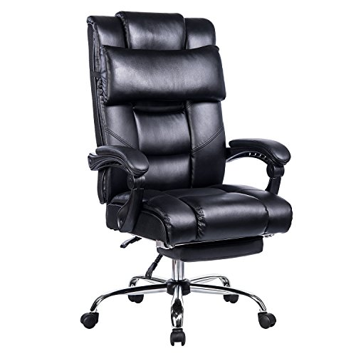 (VANBOW Reclining Office Chair - High Back Bonded Leather Executive Chair with Retractable Footrest, Removable Pillow, Adjustable Angle Recline Lock System, Ergonomic Design, Black)