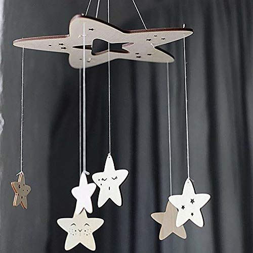 Wind Chimes & Hanging Decorations - 1pc Wooden Star Pendant Kids Room Wall Decoration Ceiling Crib Hanging Ornament Photography Props - Outdoor Canopy Tent Decor Flower 3d Draper Swirl Wedding G