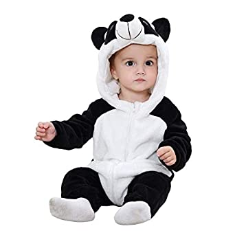 TASLAR Unisex Baby Flannel Jumpsuit Panda Style Cosplay Clothes Bunting Outfits Snowsuit Hooded Romper Outwear (Black & White Panda)