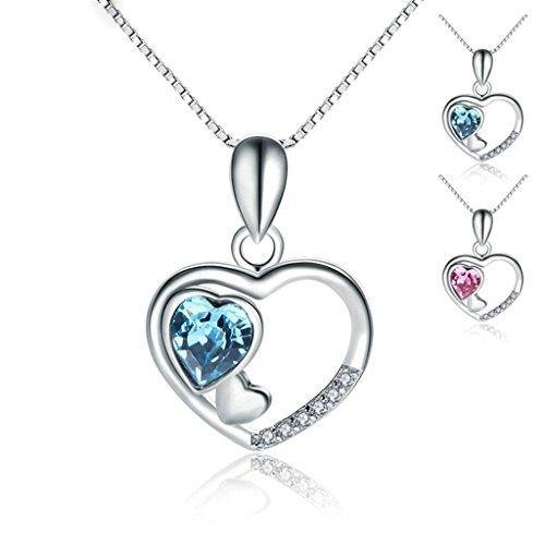 Women 925 Silver Plated Hollow Heart Pendant Necklace + Bracelet + Earrings Jewelry Set - 9