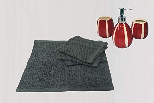 Avira Home Ribbed Face Towel (Bottle Green) - Set of 4