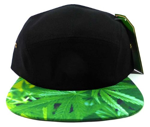- STRAPBACK 5-Panel Blank Camp Hats Caps Fashion - Marijuana Leaf