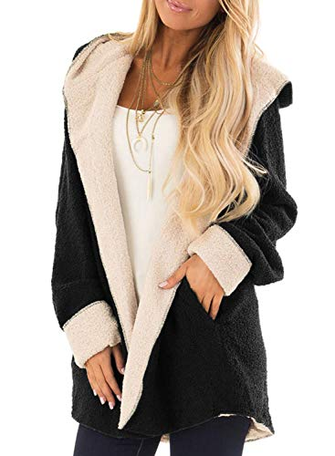 - Sidefeel Women Open Front Shaggy Cardigan Hooded Fleece Coat Jacket with Pockets Large Black