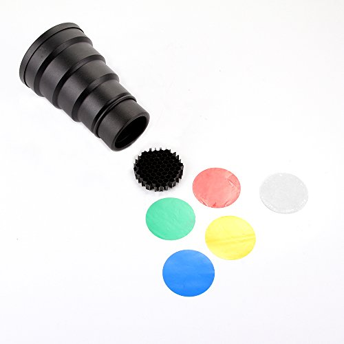 Foto4easy Studio Photo Strobe Flash Snoot with 5 Color Gel Filter & Honeycomb Grid Photography Accessorie for for Bowens Strobe Studio Flash by foto4easy