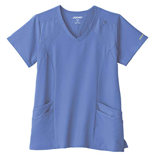 Performance Rx by Jockey Women's Make Your Move V-Neck Solid Scrub Top Large Ceil Blue