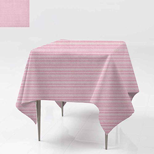 AndyTours Spillproof Tablecloth,Geometric,Feminine Horizontal Stripes in Artistic Soft Colors Parallel Lines Design,for Square and Round Tables,50x50 Inch Pale Pink Rose