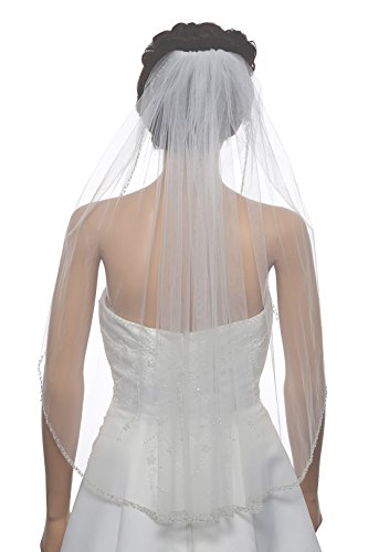 "1T 1 Tier Double Row Alternating Crystal Beaded Veil - White Elbow Length 30"" V490"