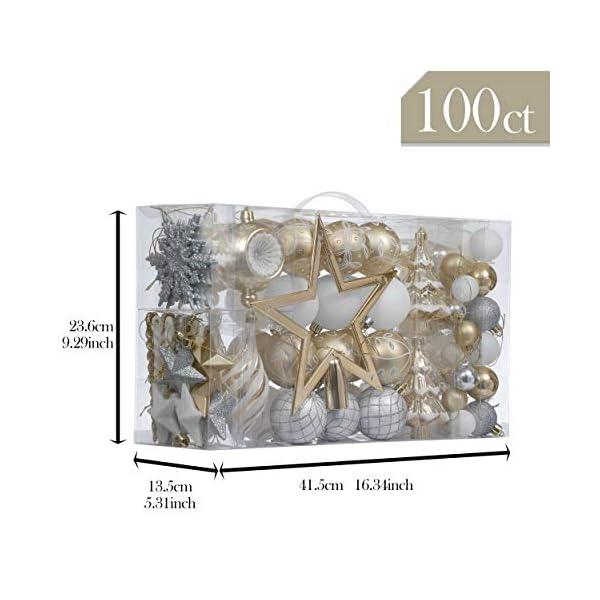 Valery Madelyn Palle di Natale 100 Pezzi di Palline di Natale, 3-5 cm Eleganti Ornamenti di Palle di Natale Infrangibili Bianchi e Dorati per la Decorazione Dell'Albero di Natale 2 spesavip