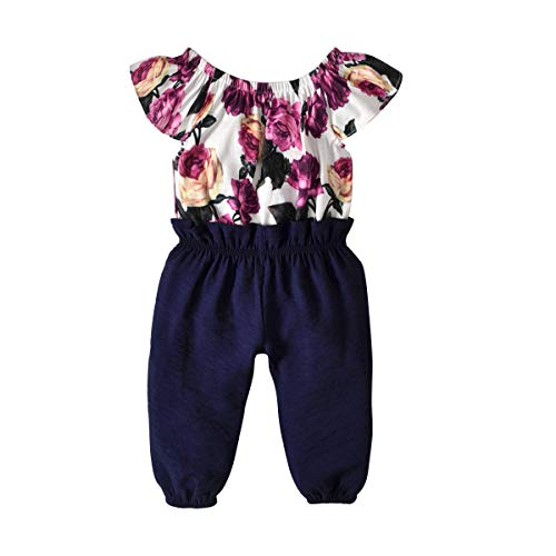 YOUNGER TREE Baby Girls Bodysuit Colorful Childhood Toddler Girls Overalls Big Kids Outfits Children's Ruffles Soft Jumpsuit (Navy, 12-18 Months)
