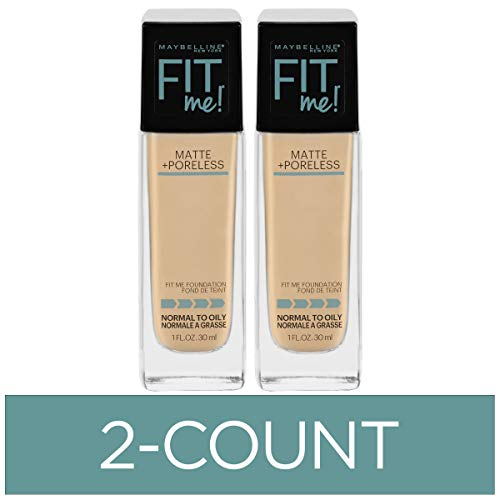 Maybelline New York Fit Me Matte + Poreless Liquid Foundation Makeup, Light Beige, 2 COUNT Oil-Free Foundation