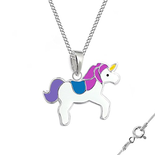 gh1a * Kids Unicornio Pendientes + colgante + cadena 925plata auténtica niña pendientes caballos Set