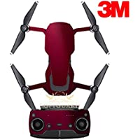 SopiGuard 3M Gloss Wine Red Precision Edge-to-Edge Coverage Vinyl Sticker Skin Controller 3 x Battery Wraps for DJI Mavic Air