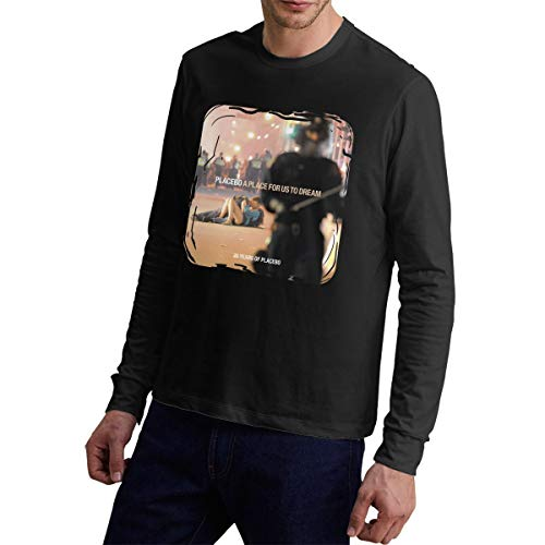 NathalieSalmeron Placebo A Place for Us to Dream Mens Crew Neck Long Sleeve Tee XL Black