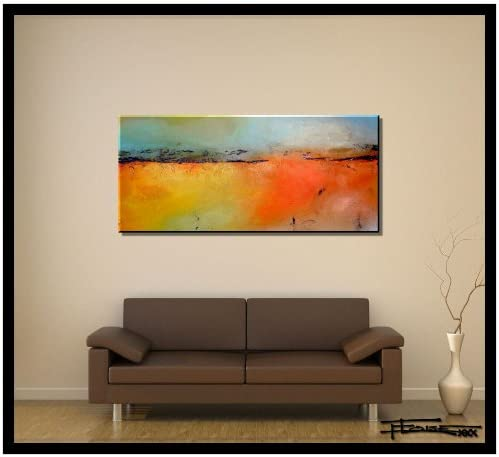 ELOISE WORLD STUDIO – ELOISExxx Limited Edition, Hand Embellsihed, Abstract Painting Canvas Wall Art. 48 x 24 x 1.5 Ready to Hang. Color Theory