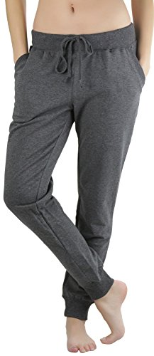 ToBeInStyle Women's Solid Print French Terry Jogger Pants - Charcoal - Large ()