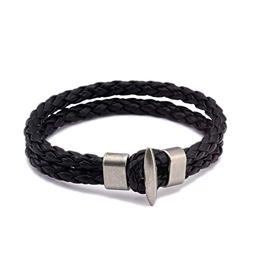 Vintage Braided Leather Charm Cuff Bracelets Men Male Sporty Jewelry Unique Handcuffs Chain Link Bracelets Bangles,02 ()
