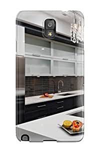 Galaxy Note 3 Modern Kitchen With Glass-front Cabinet Doors Print High Quality Tpu Gel Frame Case Cover by mcsharks