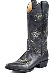 Stetson Western Boots Womens Star Black Gold 12-021-6105-0921 BL