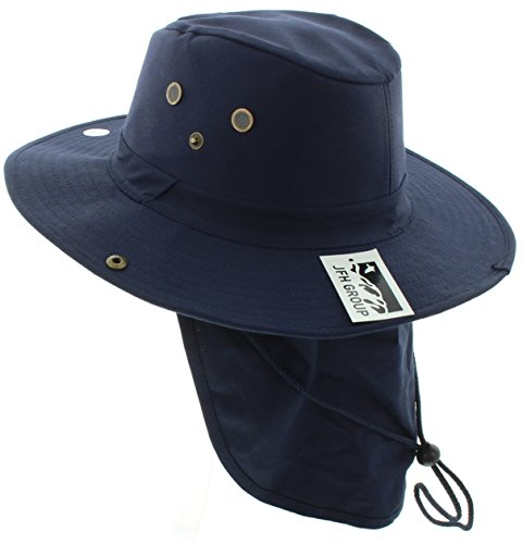 - JFH GROUP Wide Brim Unisex Safari/Outback Summer Hat w/Neck Flap (Large, Navy Solid)