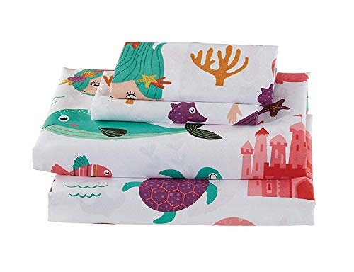 Queen Size 4pc Sheet Set for Girls/Teens Mermaid Sea Life Sea Horse Star Fish White Purple Teal New ()