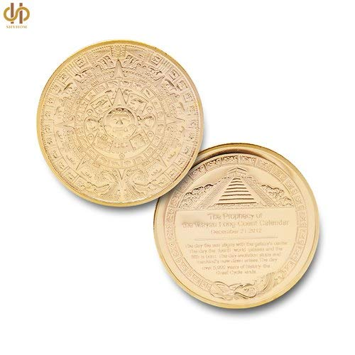 Huyenkute The Maya Gold Plated Coin Mexico Mayan Prophecy Calendar Antique Souvenir Coin Vintage Polish Coin Collectible Gifts
