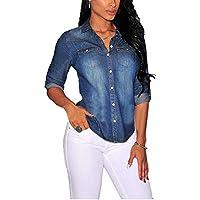 df27dedc5a Women Fashion Sexy Button Down Long Sleeve Lapel Denim Blouse Tops Shirt