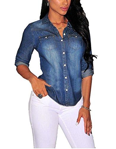 Blue Denim Shirt Top (Women Fashion Sexy Button Down Long Sleeve Lapel Denim Blouse Tops Shirt size XXL (Dark Blue))