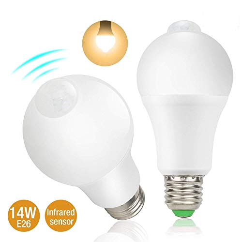 14W Motion Sensor Light Bulb,Dusk to Dawn LED Light Bulb A19, 14W LED Smart PIR Sensor Bulbs 1200lumen,E26 Base Indoor/Outdoor Lighting Lamp for Porch,Hallway,Patio,Garage,2700K Warm White
