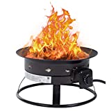 Patio Propane Gas Fire Pit Outdoor Fire Pit Round 19' Diameter 58,000 BTU FirePit MetalFire Bowl Fireplace Backyard Patio Garden Stove with Charcoal Rack, Poker