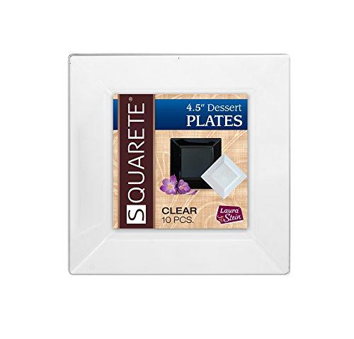 (Squarete 4.5'' inch Clear Dessert Party Plates Hard Plastic Elegant Disposable 10 Dessert Plates Per Package Pack of 3)