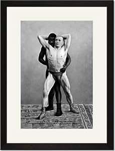 Black Framed/Matted Print 17x23, Champion Russian Wrestler