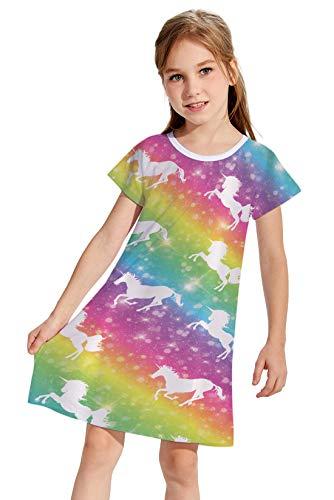 - Little Girls Short-Sleeve Rainbow Dresses Cute Unicorn Sundress Casual Summer T-Shirts Dresses 5-6T