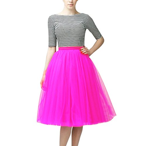 (WDPL A Line Short Knee Length Tutu Tulle Prom Party Skirt XX-Large Hot Pink )