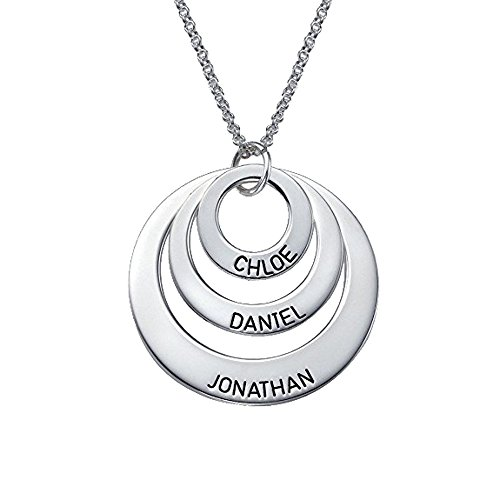 AOCHEE Engraved Jewelry for Moms -Three Circle Necklace - Personalized Disc Name Necklace for Mothers Day (Silver)
