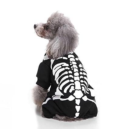 Tonpot Halloween Ropa de mascota Forma de hueso Cosplay Vestido de poliéster algodón para cachorro perro