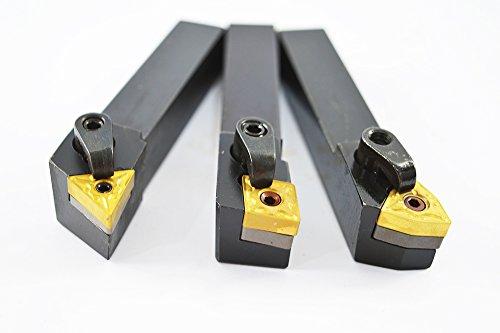 "3PCS 5/8"" CNC Lathe Excircle Indexable Carbide Turning Tool Holder Bit Set MTJNR1616H16 + MWLNR1616H08 + MCLNR1616H12 With 3pcs wnmg431, cnmg431, tnmg331 Indexable Carbide Inserts"