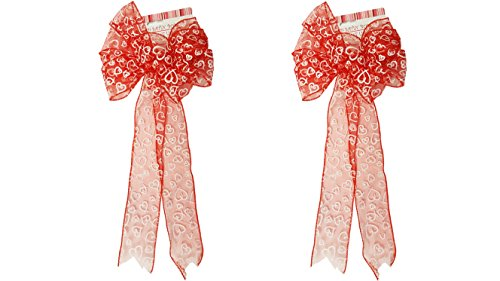 2 Valentine Red Glitter Wired Satin Bows with White Heart Design! 9.85x22.83IN
