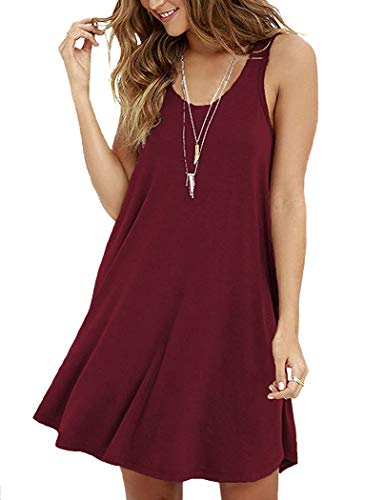 VIISHOW Summer Sleeveless A-line Mini Dress,Wine Red,Medium ()