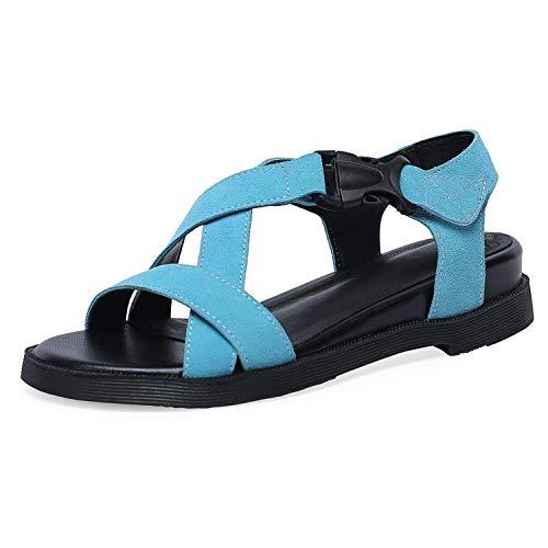 Women Sandals Scrub Genuine Leather Hook&Loop Round Open-Toed Summer,Blue,6