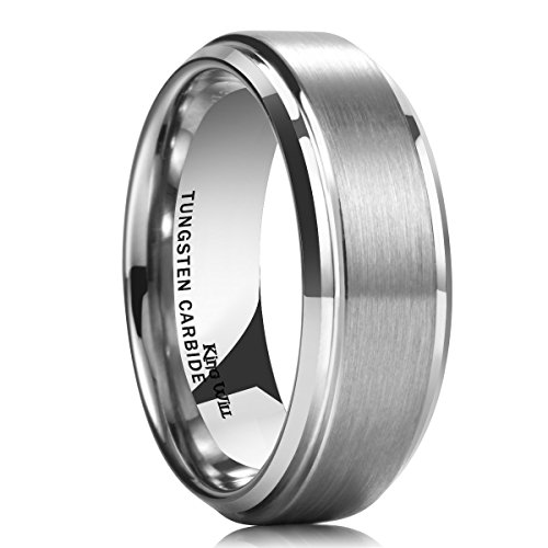 King Will Men's Tungsten Carbide Ring 8mm Polished Beveled Edge Matte Brushed Finish Center Wedding Band(14)