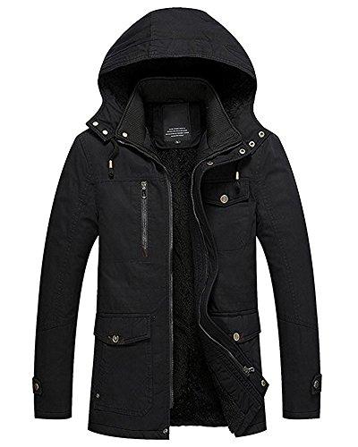 Men Hoodies Tomwell Zipper Jacket Coat Black Autumn Lined Fit Winter Slim Padded Boy Hooded Fleece xHYwYqTd