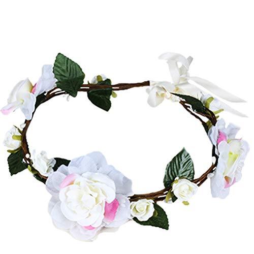 Vivivalue Boho Flower Crown Hair Wreath Halo Floral Garland Headband Headpiece With Ribbon Festival Wedding Party