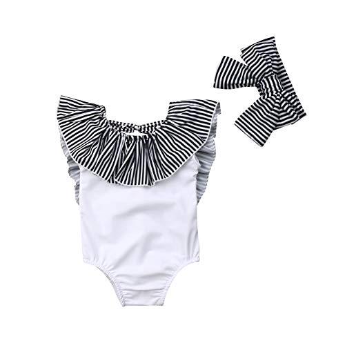 mlpeerw Infant Toddler Baby Girl Swimsuit Backless Ruffle Striped Collar Swimwear Headband 2Pcs Bikini Outfits(White, 6-12 Months)