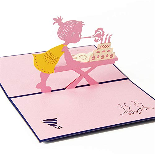 3D Pop Up Card - 3D Laser Cut Handmade Birthday Party Blow Out Candle Girl Paper Invitation Greeting Cards PostCard Kids Festival Creative Gift