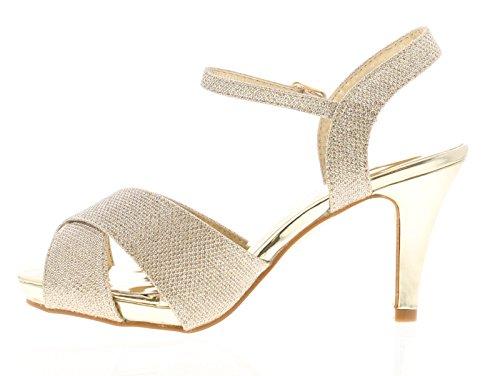 Apache 8 Gold Sandaletten Womens 3 Größen Gold Angie UK 6Br6qPgn