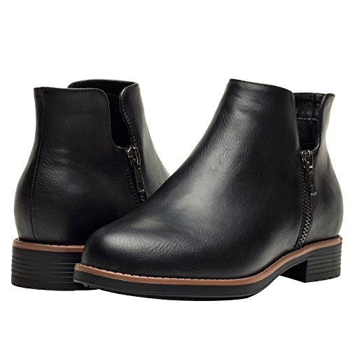 Aukusor Women's Ankle Boots, Low Heel Short Boots Ladies, Slip On Side Zipper Martin Boots Girls. - stylishcombatboots.com