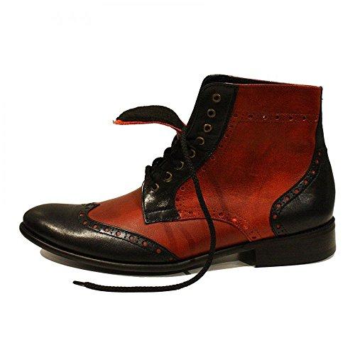 PeppeShoes Modello Sawerio - Handmade Italiano da Uomo in Pelle Rosso Stivali - Vacchetta Pelle Morbido - Allacciare