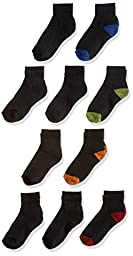 Fruit of the Loom Big Boys\' 10 Pack Ankle Socks,  Black, Shoe: 3-9