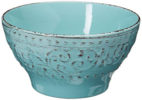 Elama Embossed Stoneware Ocean Dinnerware Dish Set, 16 Piece, Turquoise - ◈A STUNNING ACCENT TO YOUR TABLE◈ The Elama Malibu Waves 16 Piece Round Stoneware Dinnerware Set in Turquoise ◈BEAUTIFULLY COLORED◈ In Tropical Turquoise, this tableware set will surely set a tone at dinner time ◈A FULL SERVICE FOR 4◈ Each dish is creatively crafted into a unique and contemporary shape, adding a little something more special to meal time - kitchen-tabletop, kitchen-dining-room, dinnerware-sets - 413bw8ULHvL -
